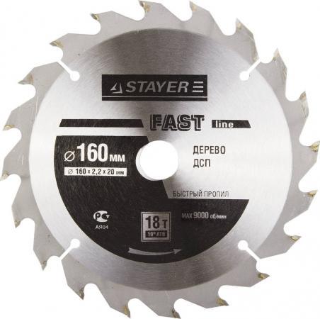 Круг пильный твердосплавный STAYER MASTER 3680-160-20-18 fast-line по дереву 160х20мм 18T