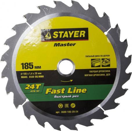 Круг пильный твердосплавный STAYER MASTER 3680-185-20-24 fast-line по дереву 185x20мм 24T