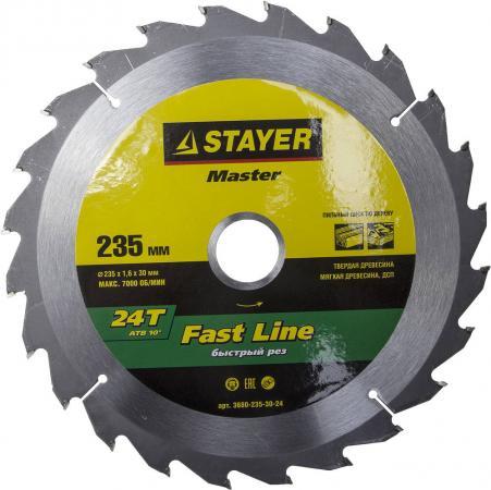 Круг пильный твердосплавный STAYER MASTER 3680-235-30-24 fast-line по дереву 235x30мм 24T бур stayer 29250 210 08