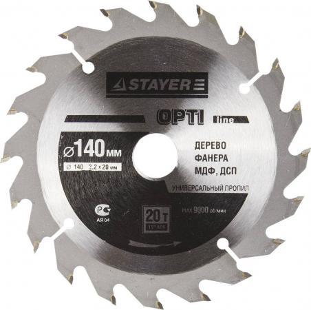 Круг пильный твердосплавный STAYER MASTER 3681-140-20-20 opti-line по дереву 140х20мм 20T zinbest 20t