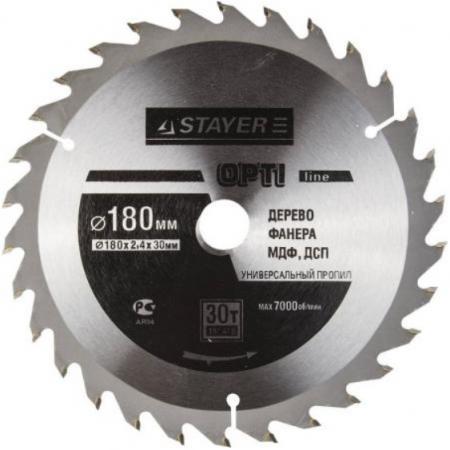 Круг пильный твердосплавный STAYER MASTER 3681-180-30-30 opti-line по дереву 180х30мм 30T stayer sag 180 1800