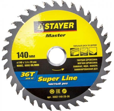Круг пильный твердосплавный STAYER MASTER 3682-140-20-36 super-line по дереву 140x20мм 36T ножовка по дереву stayer master super cut