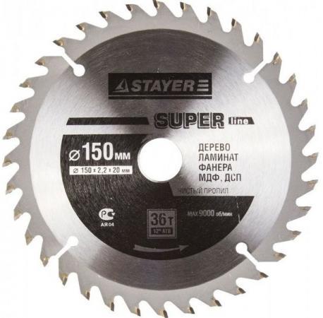 Круг пильный твердосплавный STAYER MASTER 3682-150-20-36 super-line по дереву 150х20мм 36T цена