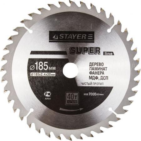 Круг пильный твердосплавный STAYER MASTER 3682-185-20-40 super-line по дереву 185х20мм 40T ножовка по дереву stayer master super cut