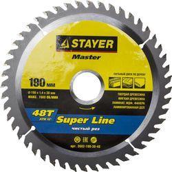 Круг пильный твердосплавный STAYER MASTER 3682-190-30-48 super-line по дереву 190х30мм 48T