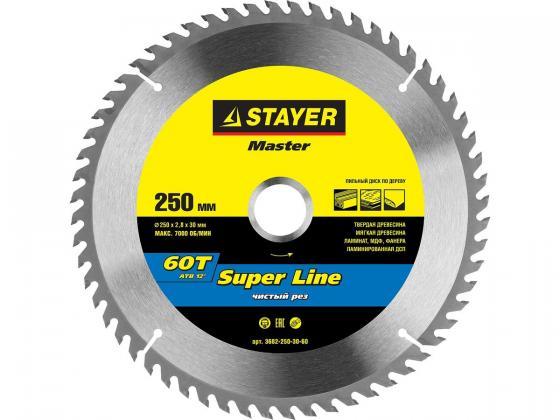 цена на Круг пильный твердосплавный STAYER MASTER 3682-250-30-60 super-line по дереву 250х30мм 60T