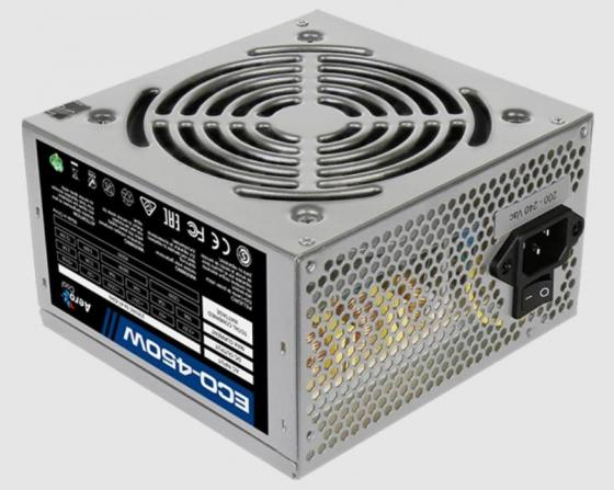 цена на Блок питания Aerocool 450W Retail ECO-450W ATX v2.3 Haswell, fan 12cm, 400mm cable, power cord, 20+4P, 12V 4P, 1x PCI-E 6P, 2x SATA, 2x PATA, 1x FDD