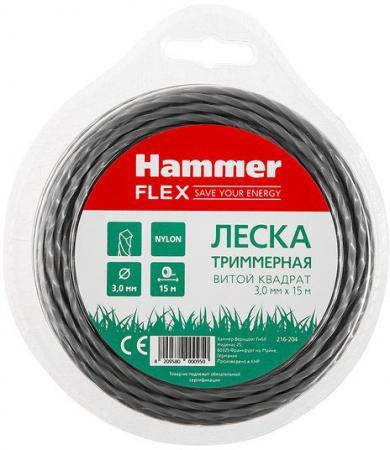 Леска триммерная Hammer Flex 216-204 3.0мм*15м сечение - витой квадрат, нож цена
