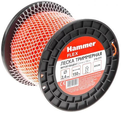 Леска триммерная Hammer Flex 216-211 2,4мм*150м сечение - витой квадрат леска триммерная hammer flex 216 110 2 0мм 75м круглая