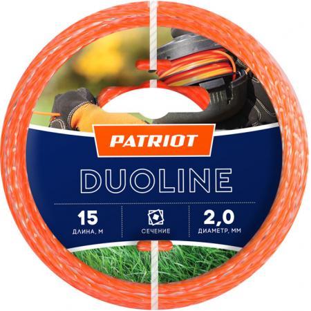 Леска для триммеров PATRIOT Duoline D 2,0мм L 15м скрученный квадрат, двухцветная, красная жила леска twistline d 2 0 мм l 15 м скрученный квадрат блистер пр во россия 805205016