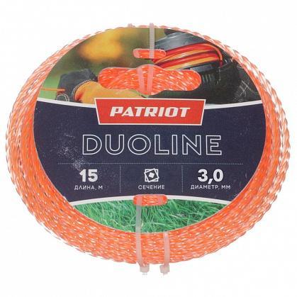 Леска для триммеров PATRIOT Duoline D 3,0мм L 15м скрученный квадрат, двухцветная, красная жила леска starline d 3 0 мм l 15 м звезда блистер пр во россия 805205013