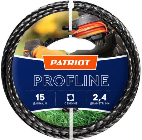 Леска для триммеров PATRIOT Profline D 2,4мм L 15м скрученный квадрат, черный 240-15-5 леска twistline d 2 0 мм l 15 м скрученный квадрат блистер пр во россия 805205016
