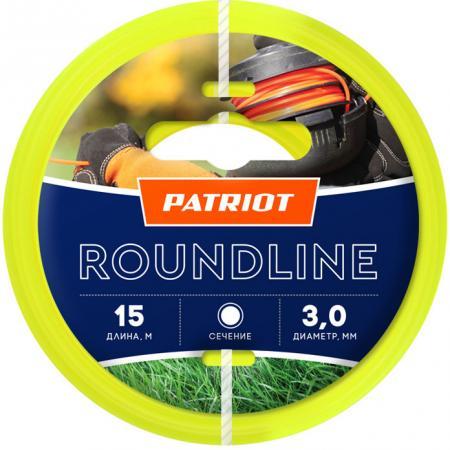 Леска для триммеров PATRIOT Roundline D 3,0мм L 15м круглая, желтая 300-15-1 леска для триммеров patriot starline d 3 0мм l 15м звезда зеленая 300 15 3 арт 805201066
