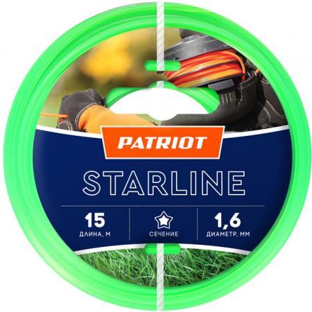 Леска для триммеров PATRIOT Starline D 1,6мм L 15м звезда, зеленая 165-15-3 Арт 805201051 леска starline d 3 0 мм l 15 м звезда блистер пр во россия 805205013