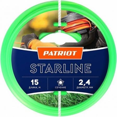 Леска для триммеров PATRIOT Starline D 2,4мм L 15м звезда, зеленая 240-15-3 Арт 805201061 леска для триммеров patriot starline d 3 0мм l 15м звезда зеленая 300 15 3 арт 805201066