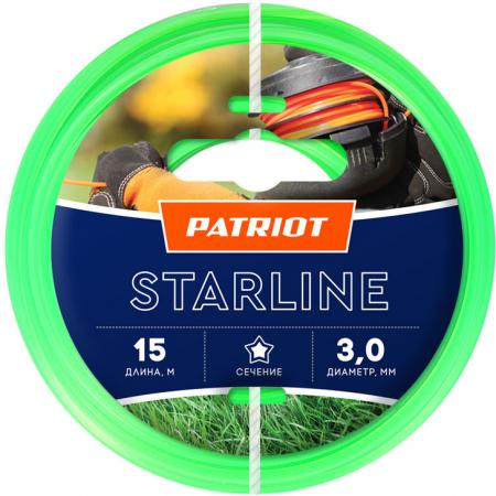 Леска для триммеров PATRIOT Starline D 3,0мм L 15м звезда, зеленая 300-15-3 Арт. 805201066 леска starline d 3 0 мм l 15 м звезда блистер пр во россия 805205013