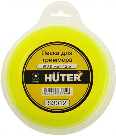 Леска HUTER S3012 Ф3мм 12м сечение звезда леска huter звезда 3 мм х 12 м s3012