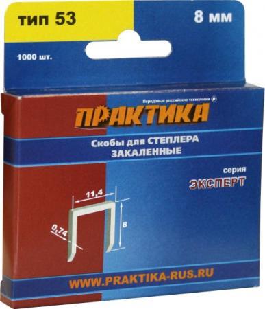 Скобы для степлера ПРАКТИКА 775-372 8мм, тип 53 (0.7х11.3мм), 1000шт., Эксперт