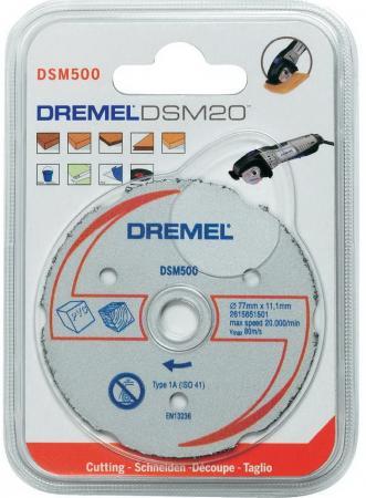 Круг отрезной DREMEL DSM500 77x11.5мм, тердосплавный, по дереву, 1шт., для Saw Max (DSM20) лобзик dremel moto saw ms20 1 5 f013ms20jc