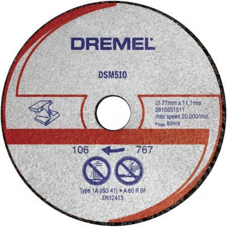 цена на Круг отрезной DREMEL DSM510 77x11.5мм, армированный, по металлу/пласт., 3шт., для Saw Max (DSM20)