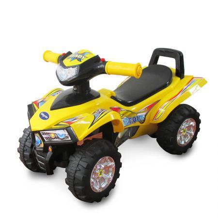 Каталка-квадроцикл Baby Care Super ATV пластик от 1 года на колесах желтый каталка на палочке s s toys вертолет желтый от 1 года пластик