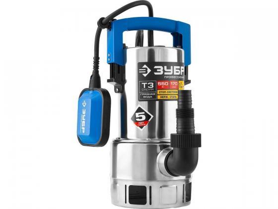 Насос ЗУБР НПГ-Т3-550-С профессионал т3 погружной дренажный для грязной воды d частиц до 35мм 550В погружной дренажный насос зубр знпг 550 с