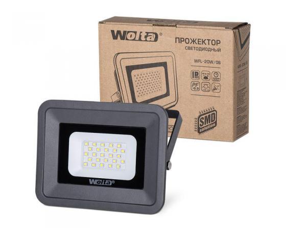 Светодиодный прожектор WOLTA WFL-20W/06 5500K, 20 W SMD, IP 65,цвет серый, слим прожектор wolta wfl 20w 06 20w 180v 5500к smd ip65 grey