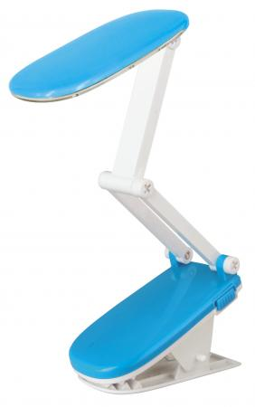 Лампа настольная ULTRAFLASH UF-704 С06 синий Свет прищепка аккум. 24LED цена