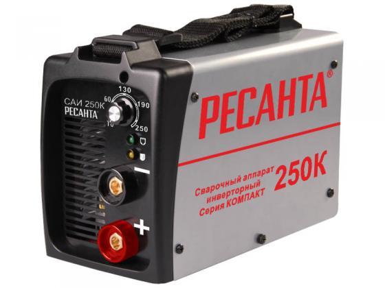 Инвертор сварочный РЕСАНТА САИ 250К компакт 220±10% MMA 10-250А 70% max6мм IP21 сварочный аппарат ресанта саи 250к компакт 65 38