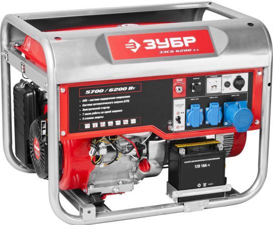 Бензиновый генератор ЗУБР ЗЭСБ-6200-ЭА 6200/5700Вт 220/12В 4ткт ручной и эл.пуск автопуск