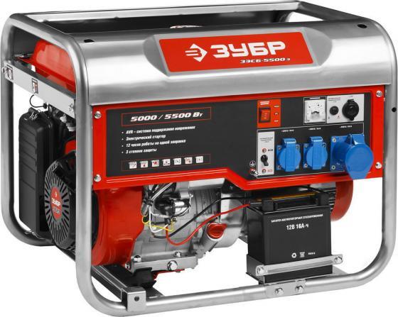 Генератор ЗУБР ЗЭСБ-5500-Э бензиновый 4-х тактный ручной и электрический пуск 5500/5000Вт 220/12в генератор бензиновый зубр зиг 1200