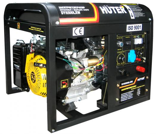 купить Бензоэлектростанция HUTER DY6500LXW 5,0кВт 50Гц бак22л 374г/кВтч 72кг ф-я сварки 60-200А колёса по цене 61890 рублей