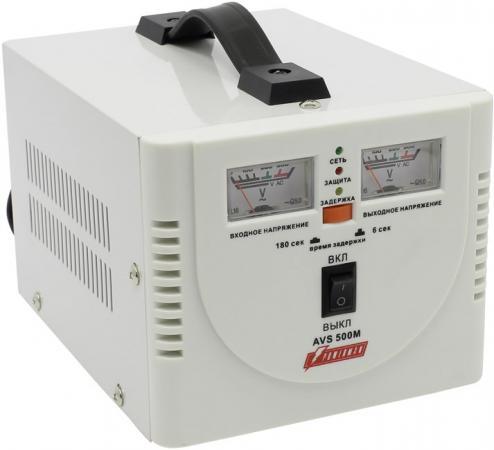 Стабилизатор POWERMAN AVS 500M 500ВА 5А КПД 98% аналог. индикация вх./вых. напряж. lomon золотистый 200m 500m