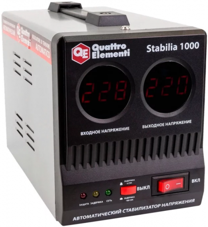 Стабилизатор QE Stabilia 1000 однофазный, цифровой 220В 1000ВА вх.:140-270В нагреватель воздуха газовый quattro elementi qe 10g 911 536