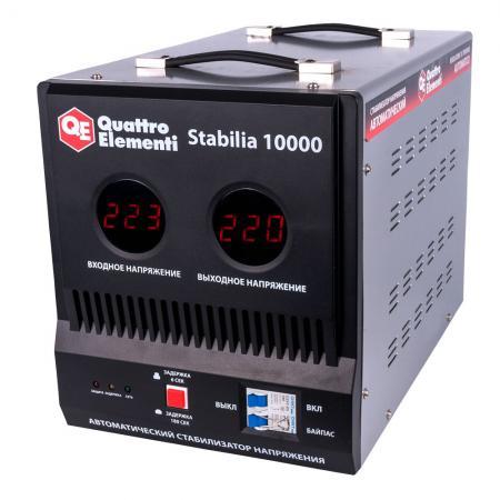 Стабилизатор QE Stabilia 10000 однофазный, цифровой 220В 10000ВА вх.:140-270В