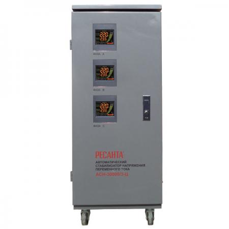 Стабилизатор РЕСАНТА АСН-30000/3-Ц трехфазный 30кВт время регулирования15мс IP20 трехфазный релейный стабилизатор энергия voltron рсн 30000