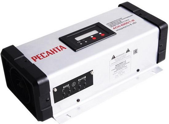 Стабилизатор напряжения Ресанта АСН-6000/1-И стабилизатор напряжения инверторный ресанта асн 6000 1 и