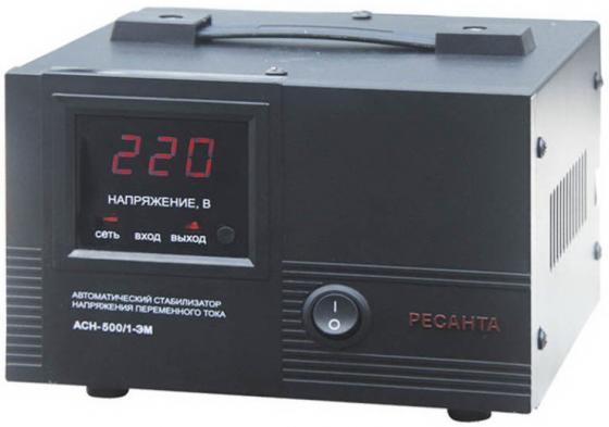 Стабилизатор напряжения Ресанта ACH-500/1-ЭМ 1 розетка стабилизатор ресанта ach 500 н 1ц