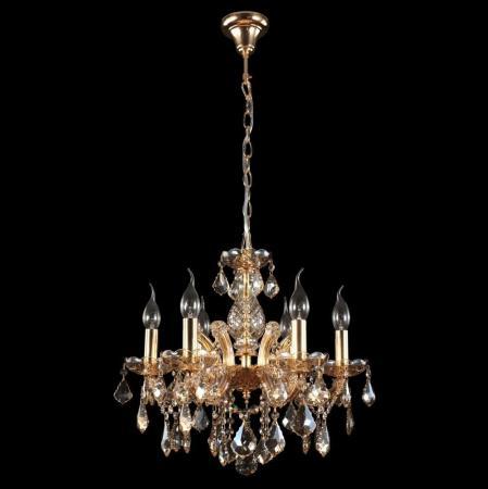 Подвесная люстра Crystal Lux Ines SP6 Gold/Amber потолочная люстра n light 90284 90284 12 gold g9 40w amber crystal