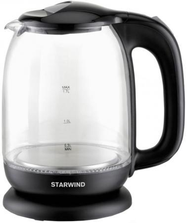 Чайник StarWind SKG1210 2200 Вт прозрачный чёрный 1.7 л стекло цена и фото