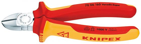 Бокорезы KNIPEX 7006160 1000V 160мм диагональные,ручки изолированные,с двухцв многокомп чехлами бокорезы knipex kn 1426160