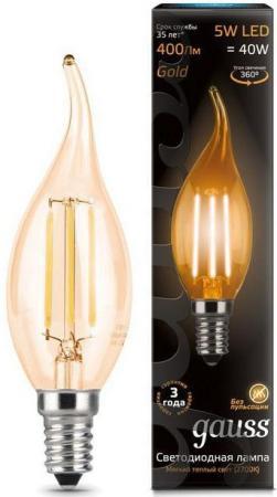 Лампа светодиодная свеча на ветру Gauss 104801005 E14 5W 2700K лампа энергосберегающая 03861 e14 12w gold свеча на ветру витая золотая esl c21 tw12 gold e14