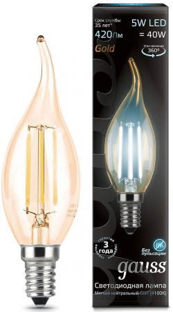 Лампа светодиодная свеча на ветру Gauss 104801805 E14 5W 4100K лампа энергосберегающая 03861 e14 12w gold свеча на ветру витая золотая esl c21 tw12 gold e14