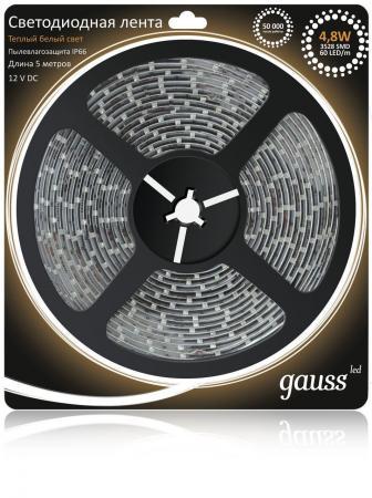 Светодиодная лента Gauss 5M теплый белый 4,8W IP66 311000105 светодиодная лента gauss 5m теплый белый 14 4w ip66 311000114