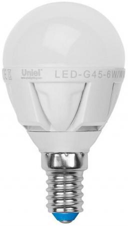 Лампа светодиодная шар Uniel 08694 E14 6W 4500K LED-G45-6W/NW/E14/FR/DIM лампа светодиодная 09455 e14 6w 4500k шар матовый led g45 6w nw e14 fr s