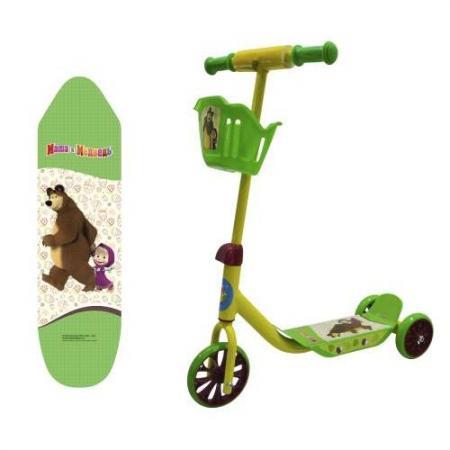 Самокат трехколёсный 1TOY Маша и Медведь зеленый Т11701 1toy самокат spider man