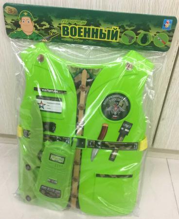 Набор 1toy костюм Профи с жилетом - Военный 39х28х4 см., 2 предмета , размер жилета 26х32*0,5 см.