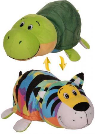 Мягкая игрушка вывернушка 1toy Радужный Тигр-Черепаха 40 см зеленый плюш пластик Т12333 мягкие игрушки 1toy вывернушка тигр черепаха