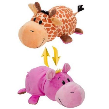 Мягкая игрушка вывернушка 1toy Жираф-Бегемот 40 см розовый коричневый текстиль пластик Т10877 мягкая игрушка beanie boo s черепашка shellby цвет салатовый коричневый 40 5 см