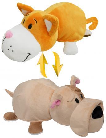 Подушка вывернушка 1toy Оранжевый кот-Бульдог 35 см плюш декоративные подушки оранжевый кот подушка интерьерная упаковка